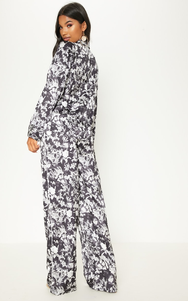 Black Floral Printed Button Front Shirt 2
