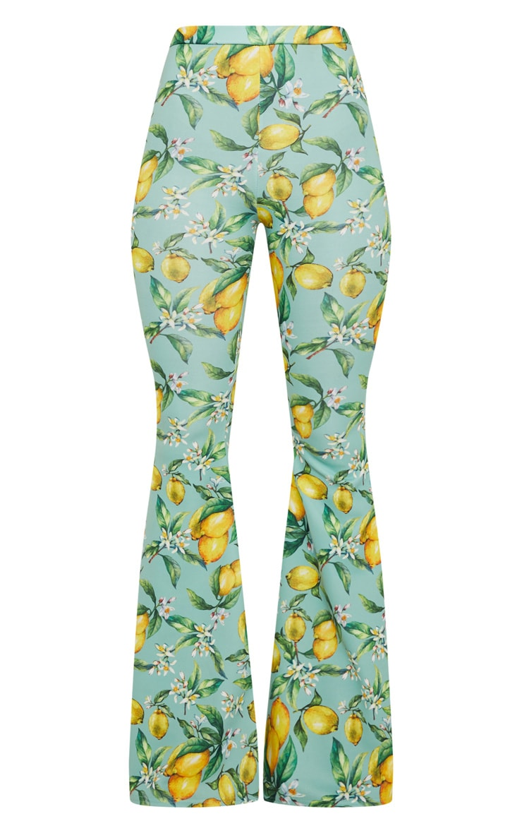 Sage Green Lemon Printed Scuba Extreme Flared Trousers 3