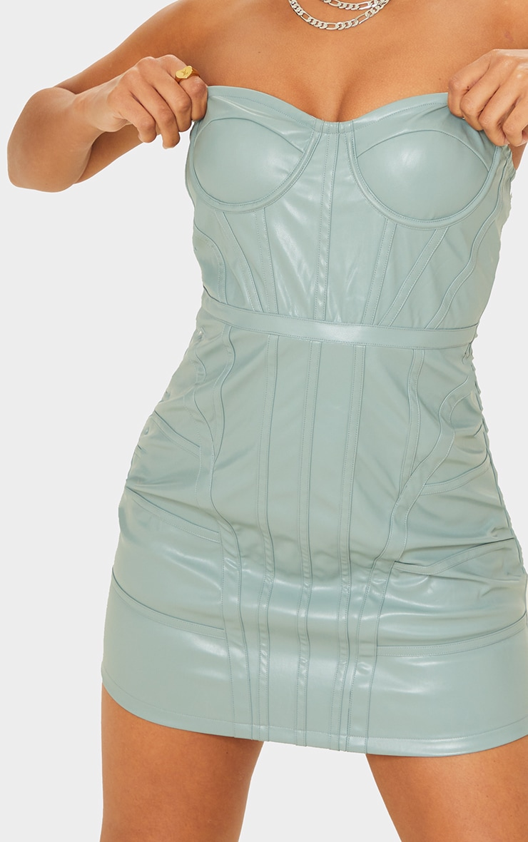 Mineral Blue PU Binding Detail Bandeau Bodycon Dress 4