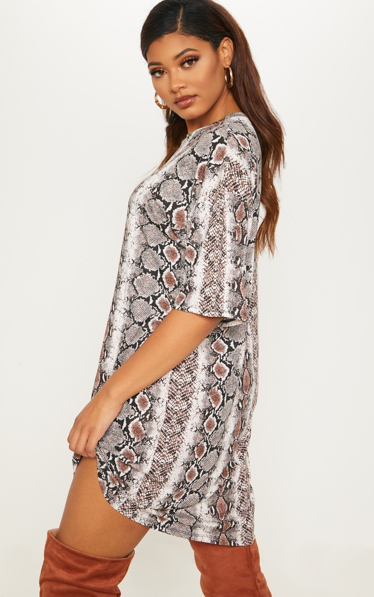 Tall Snake Print Oversized T-Shirt Dress 2