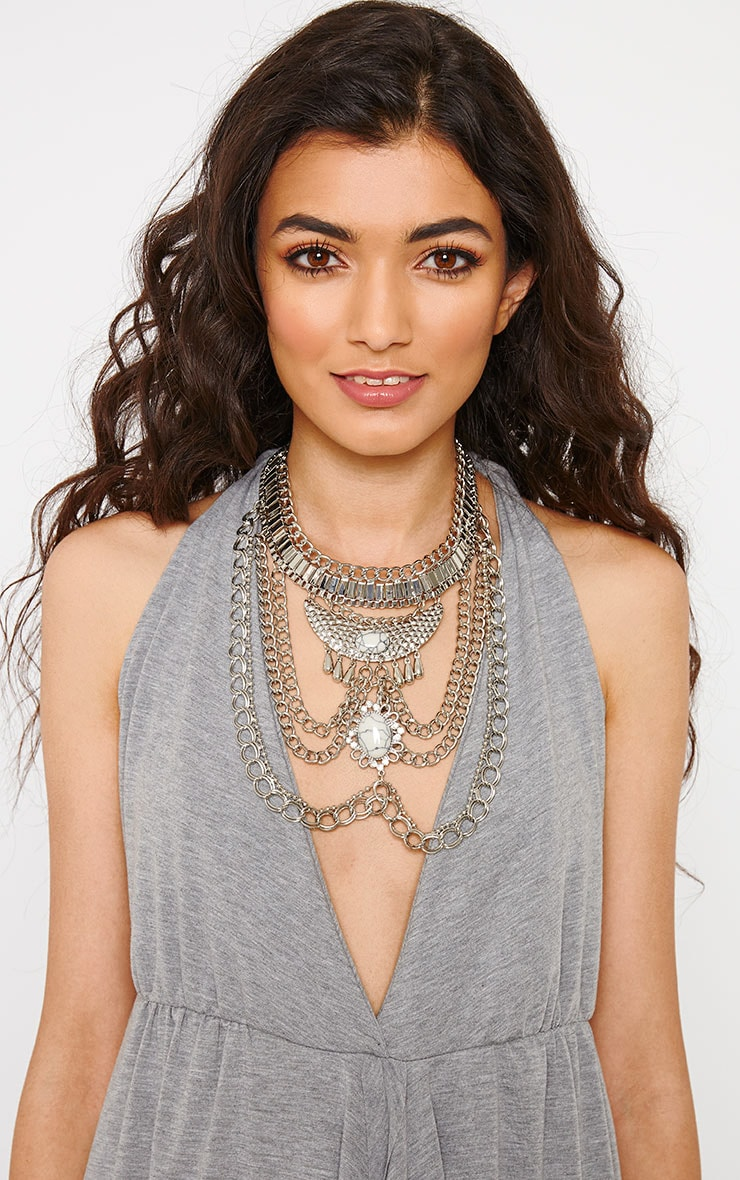 Charlene Silver Chain Statement Necklace 1