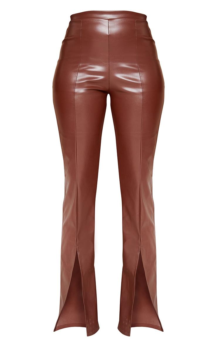 Chocolate Faux Leather Seam Detail Split Hem Trousers 5