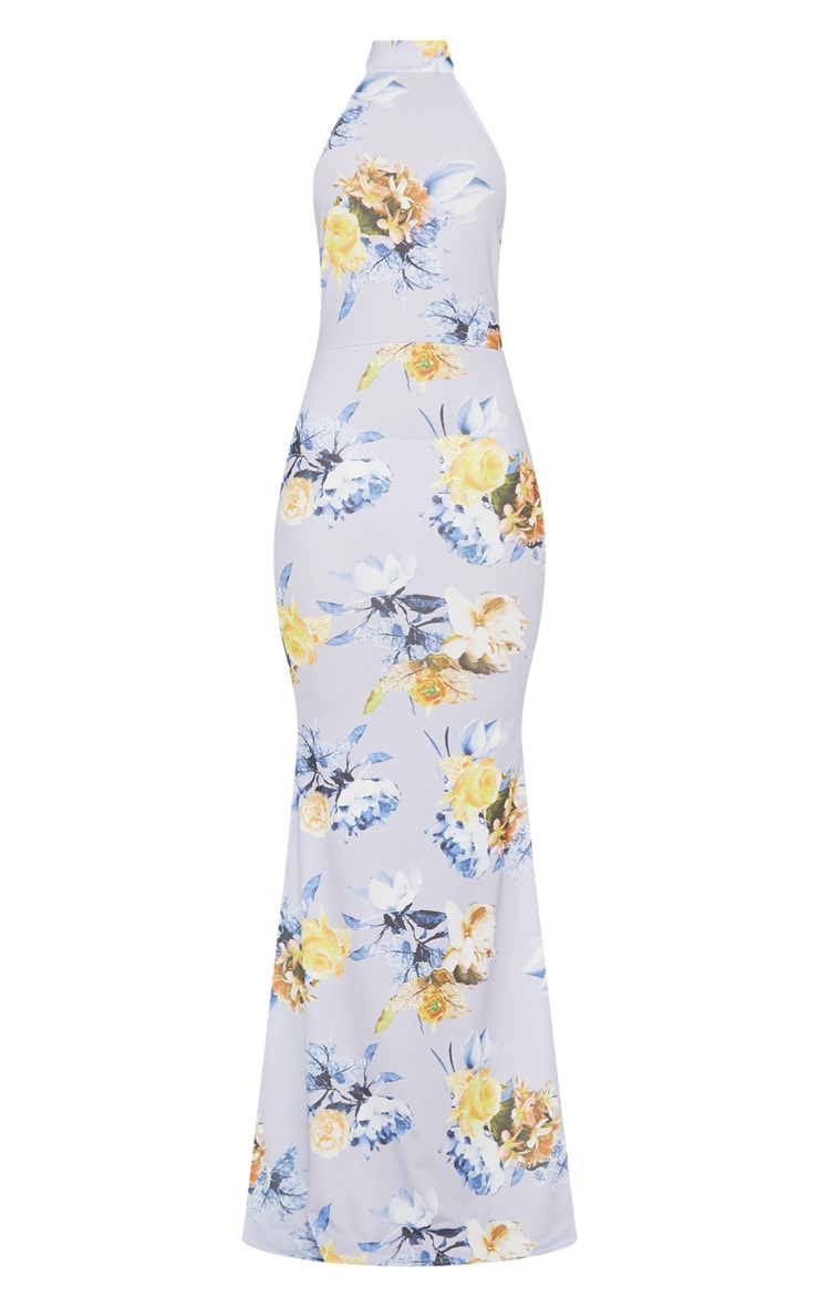 Dusty Blue Floral Print Cross Back High Neck Maxi Dress 3