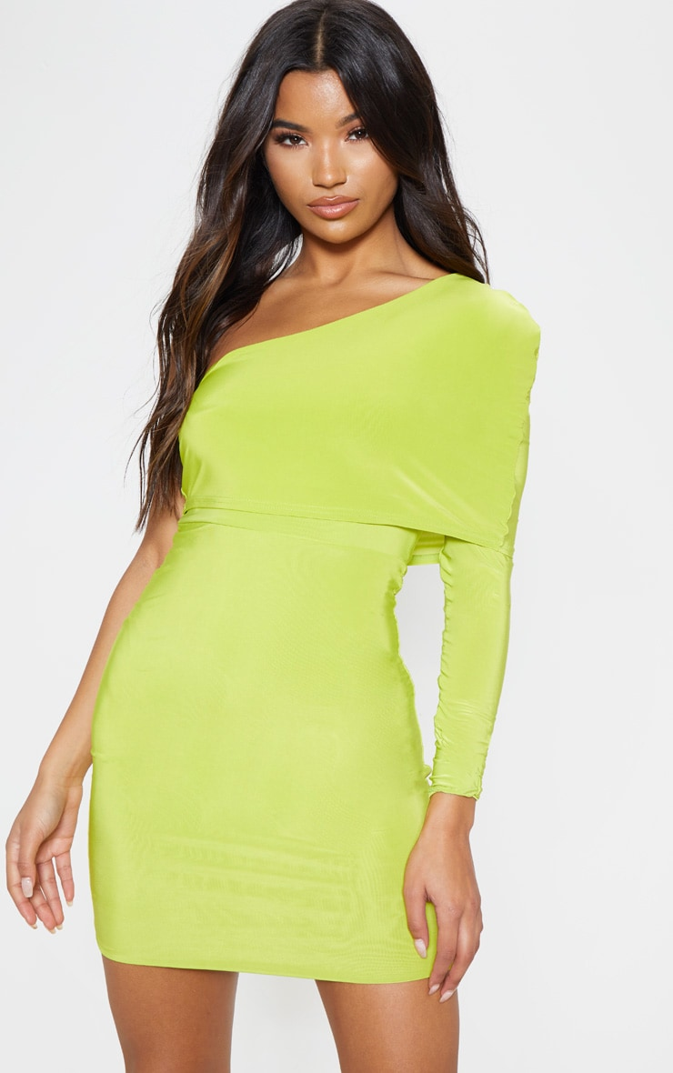 Lime Slinky One Shoulder Cape Detail Bodycon Dress 1