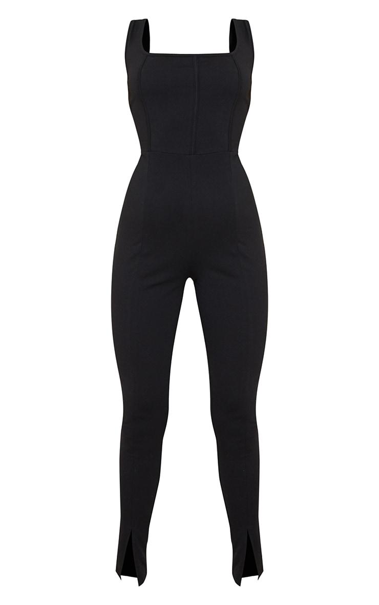 Black Binding Detail Split Hem Cotton Jumpsuit 5