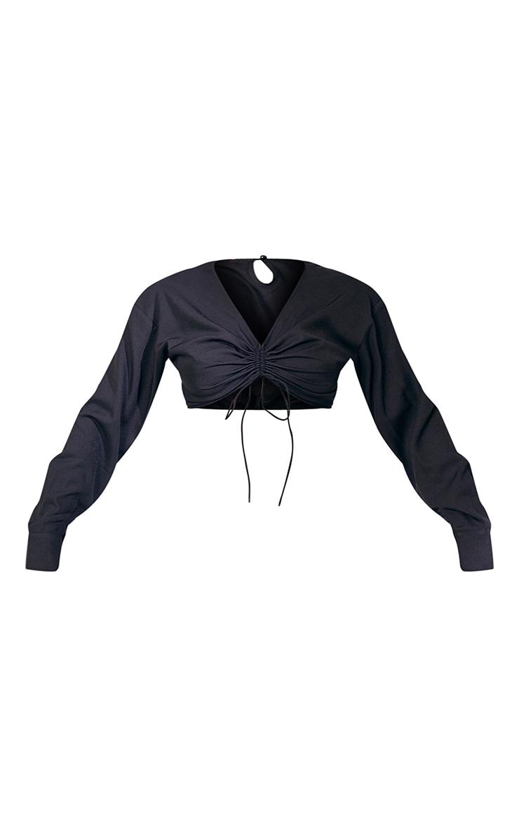 Crop top noir en maille tissée froncée à manches longues, col en V et noeud devant 5