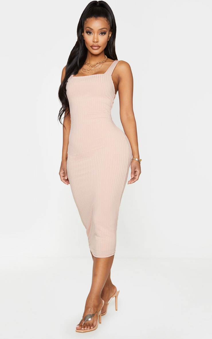 Shape Stone Ribbed Square Neck Midi Dress 3