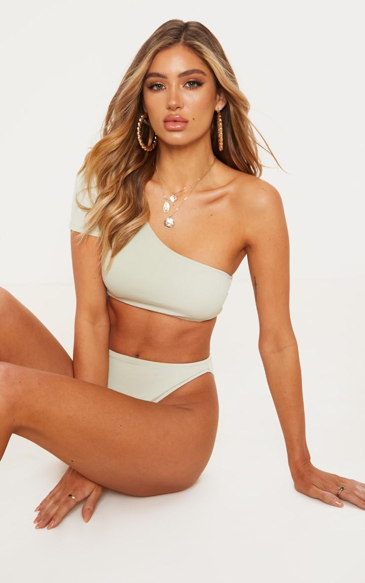 Sage Green One Shoulder Sleeve Bikini Top 2