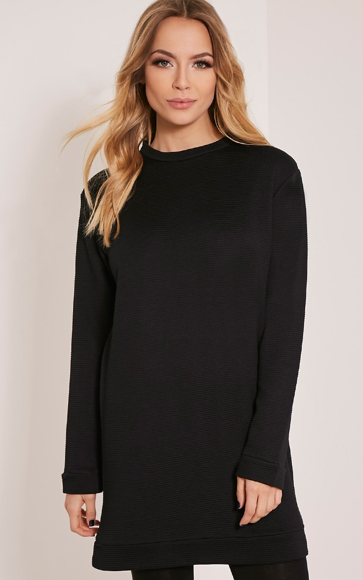 Melonie Black Ribbed Longline Sweater 1