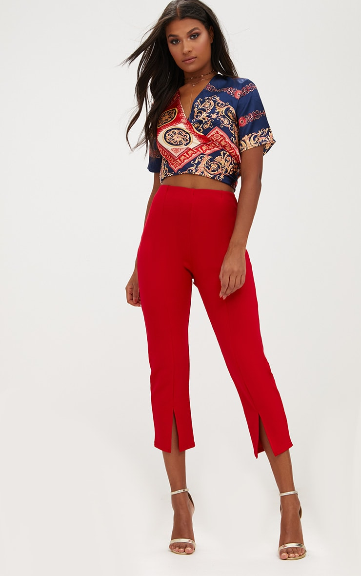 Red Front Split Straight Leg Trousers 1