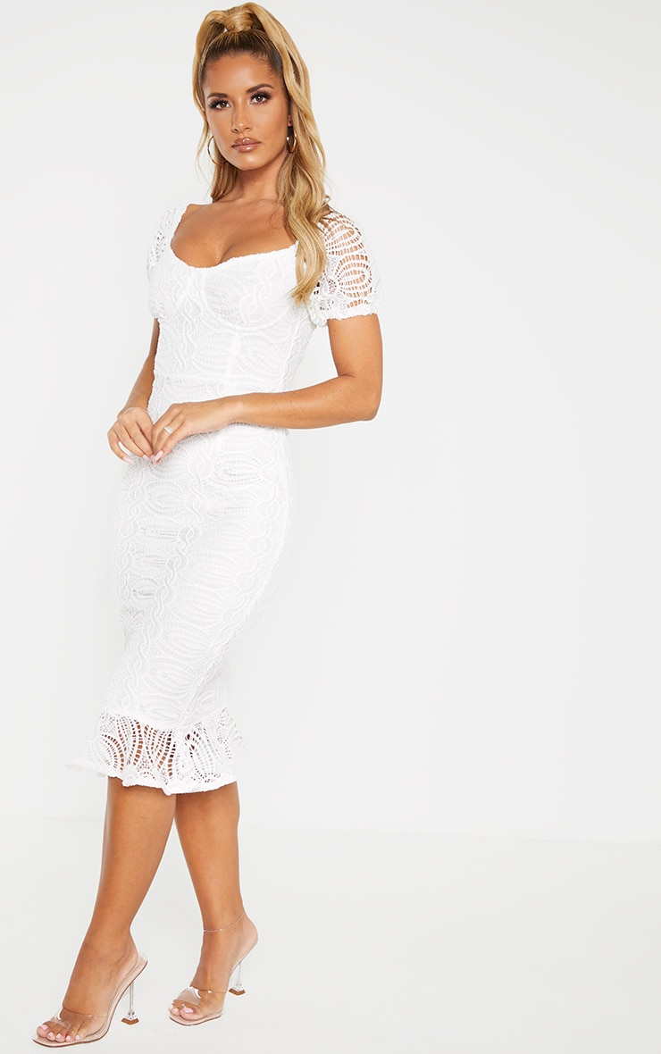 White Cup Detail Lace Bardot Midi Dress 4