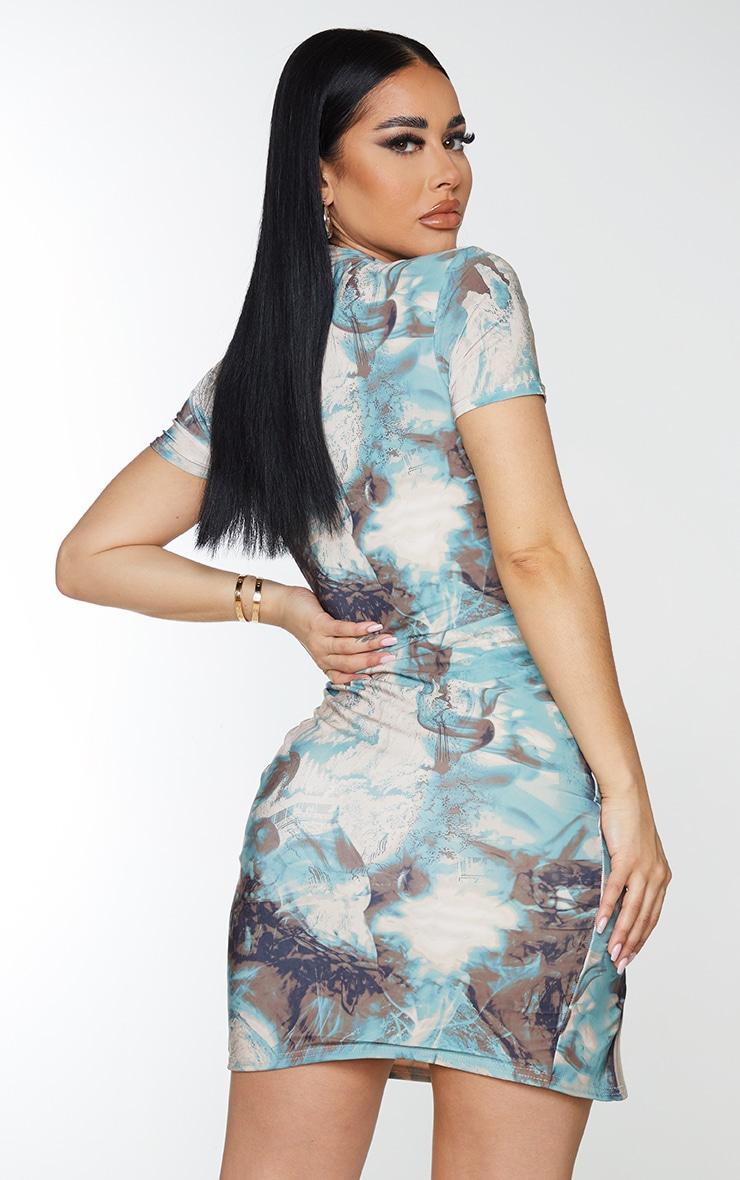 Shape Teal Marble Print Slinky High Neck Binding Detail Bodycon Dress 2