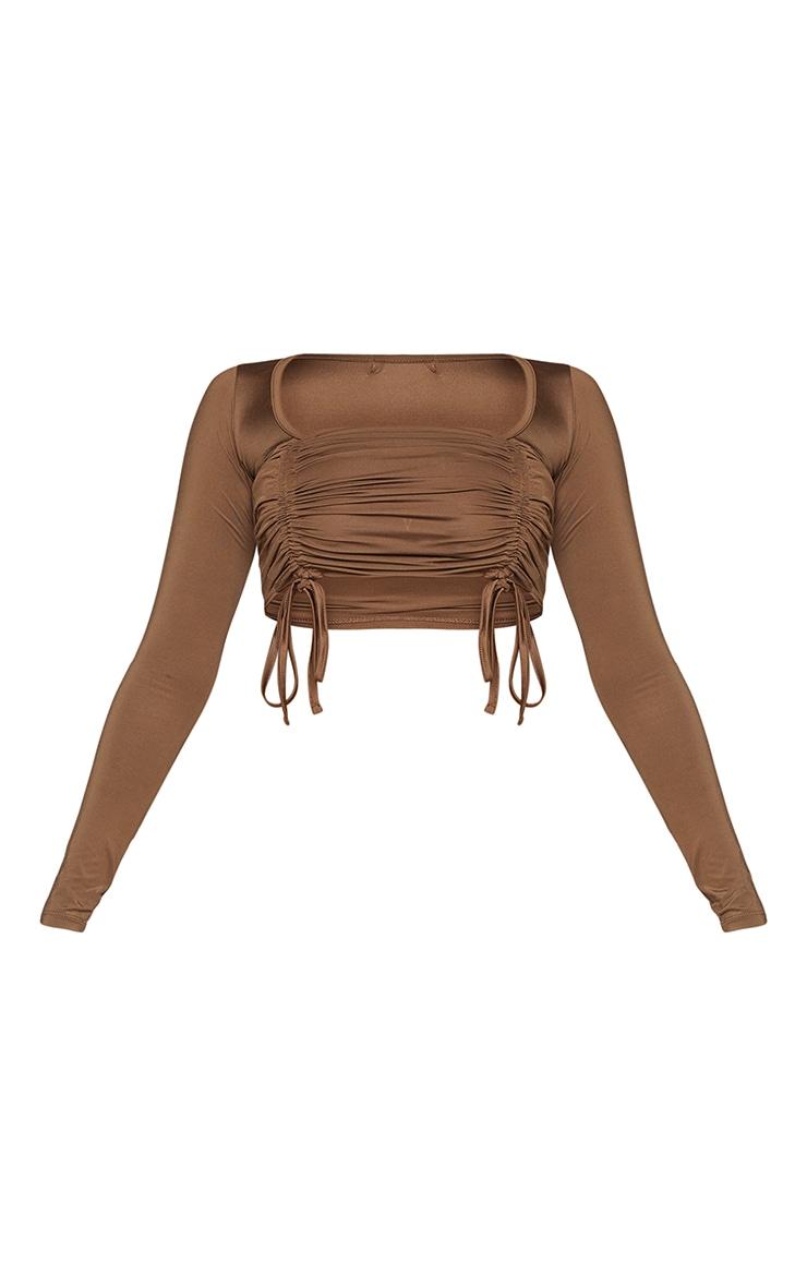 Chocolate Slinky Tie Back Long Sleeve Crop Top 5