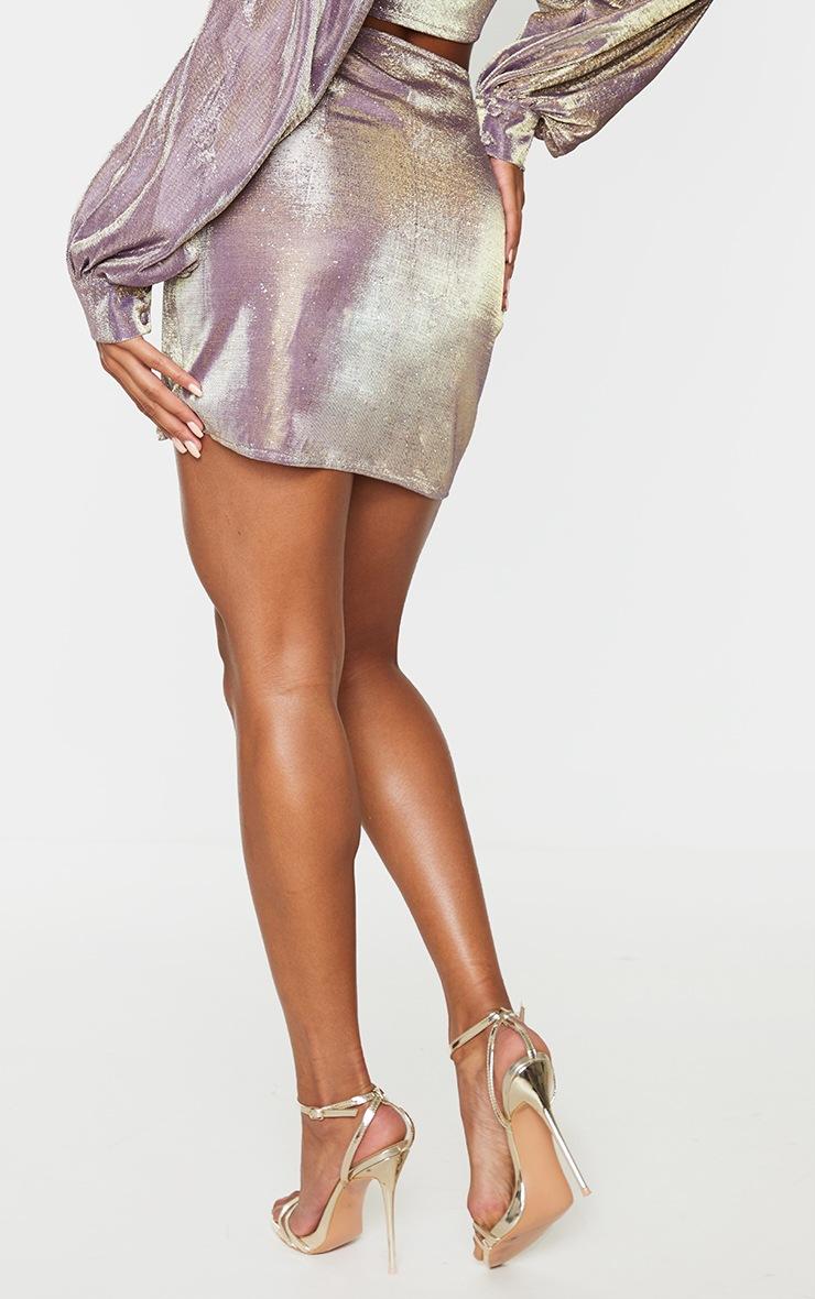 Lilac Textured Glitter Print Woven Panel Front Mini Skirt 3