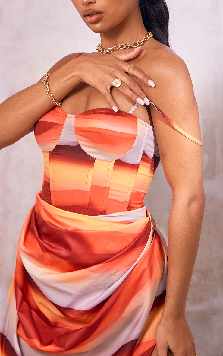 Orange Abstract Print Structured Corset Top 4