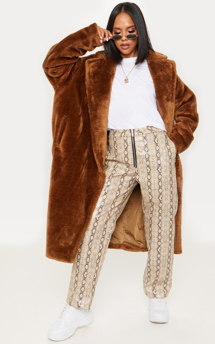 Brown Faux Fur Coat  1