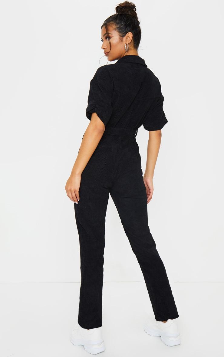 Black Button Front Short Sleeve Cord Jumpsuit 2