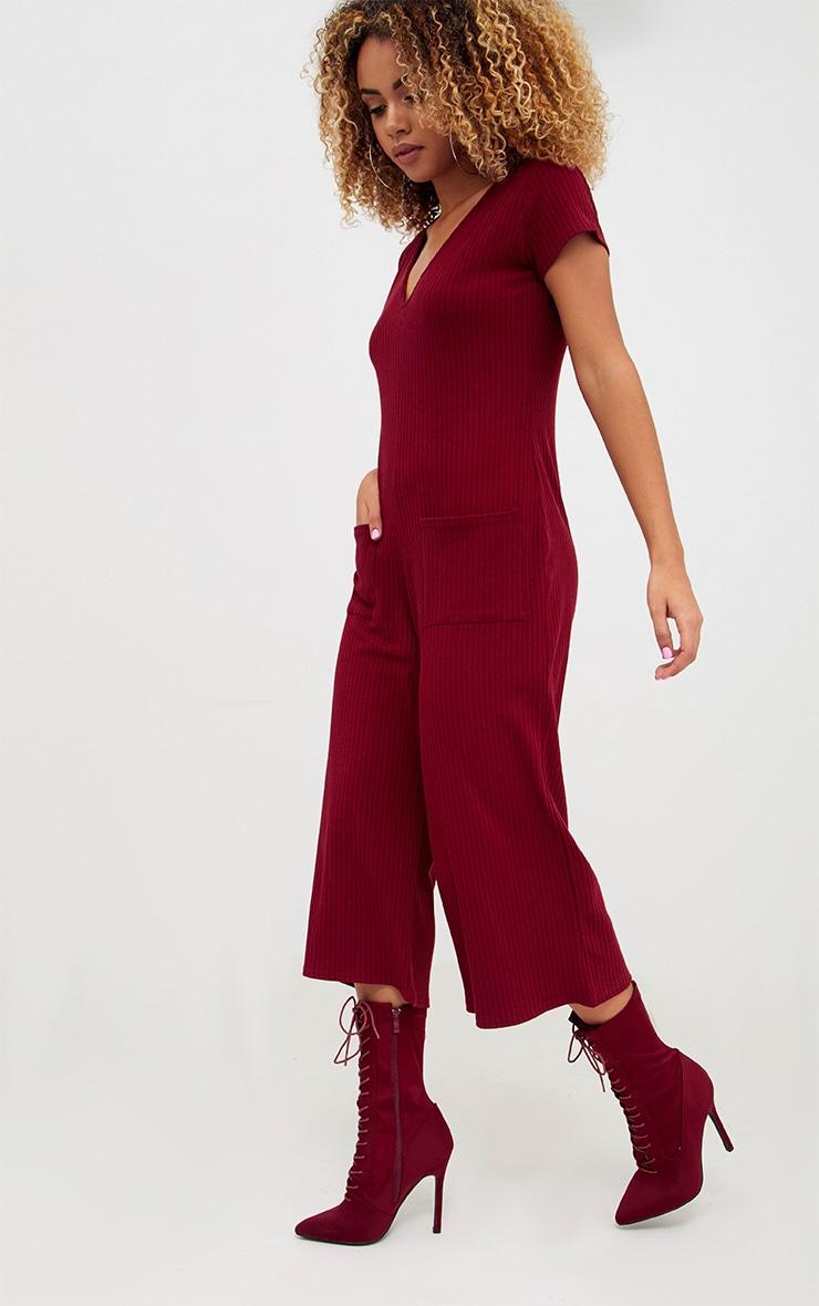 Burg Short Sleeve Ribbed Culottes' Pocket Jumpsuit 4