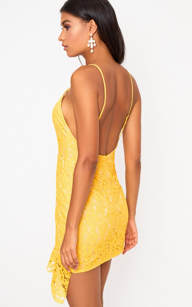 Yellow Lace Strappy Frill Detail Bodycon Dress 2