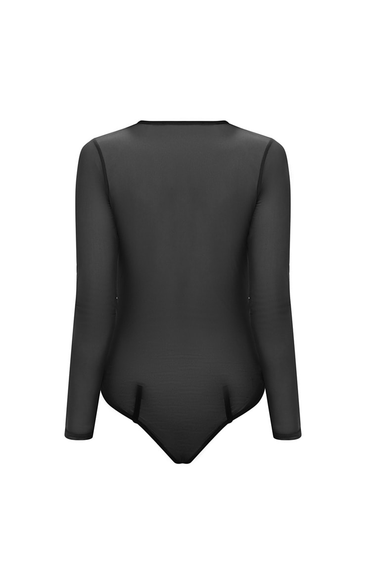 Black Seam Detail Mesh Plunge Thong Bodysuit 4