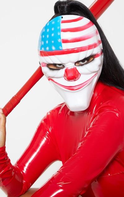 White Stars And Stripes Clown Mask