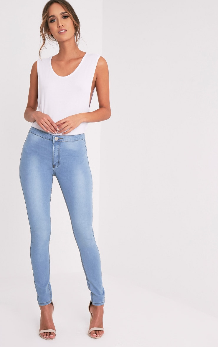 Light Wash High Waisted Skinny Jean 1