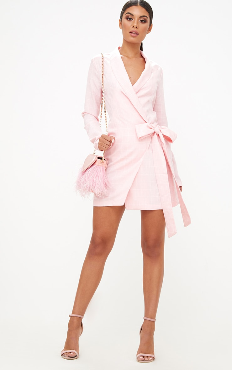 Pink Checked Blazer Dress 4