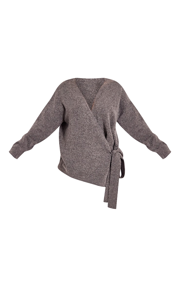 Recycled Charcoal Knitted Tie Side Cardigan 5