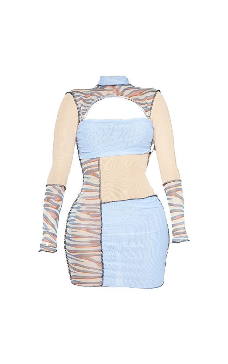 Shape Stone Zebra Print Sheer Mesh Panel Detail Bodycon Dress 5