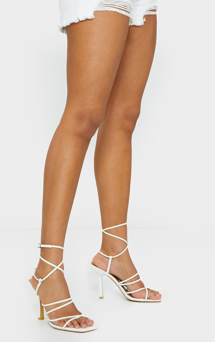 White Squared Strappy Heels 1