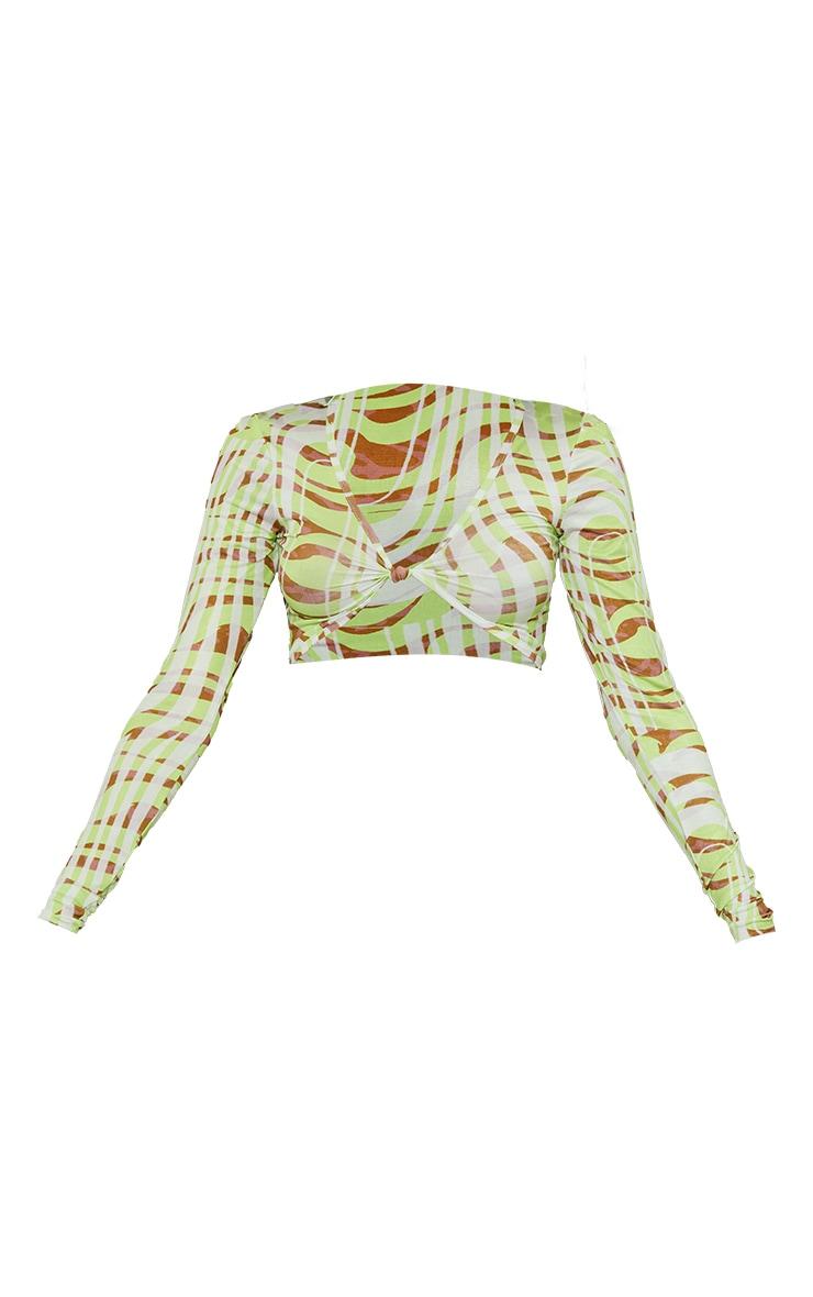 Lime Swirl Printed Slinky Long Sleeve Twist Front Crop Top 5