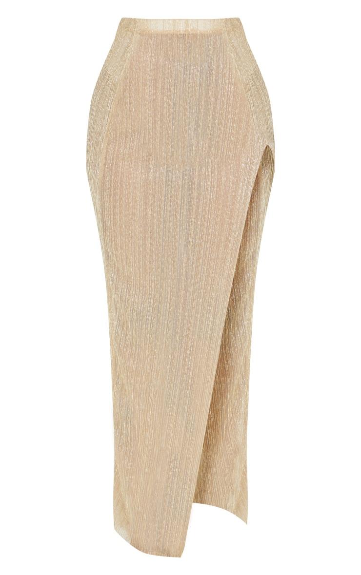 Shape Gold Metallic Pleated Split Leg Maxi Skirt 3