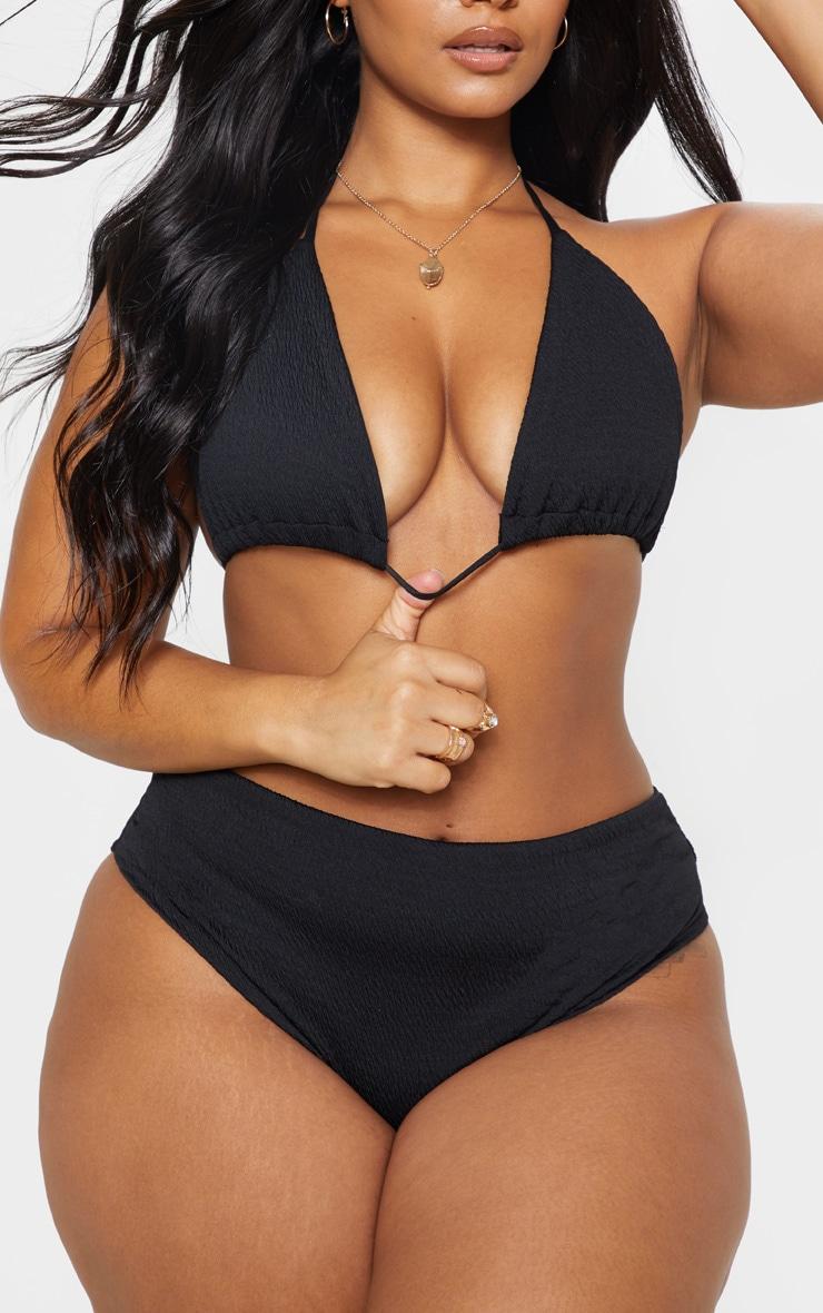 PLT Plus - Bas de bikini froncé noir 1