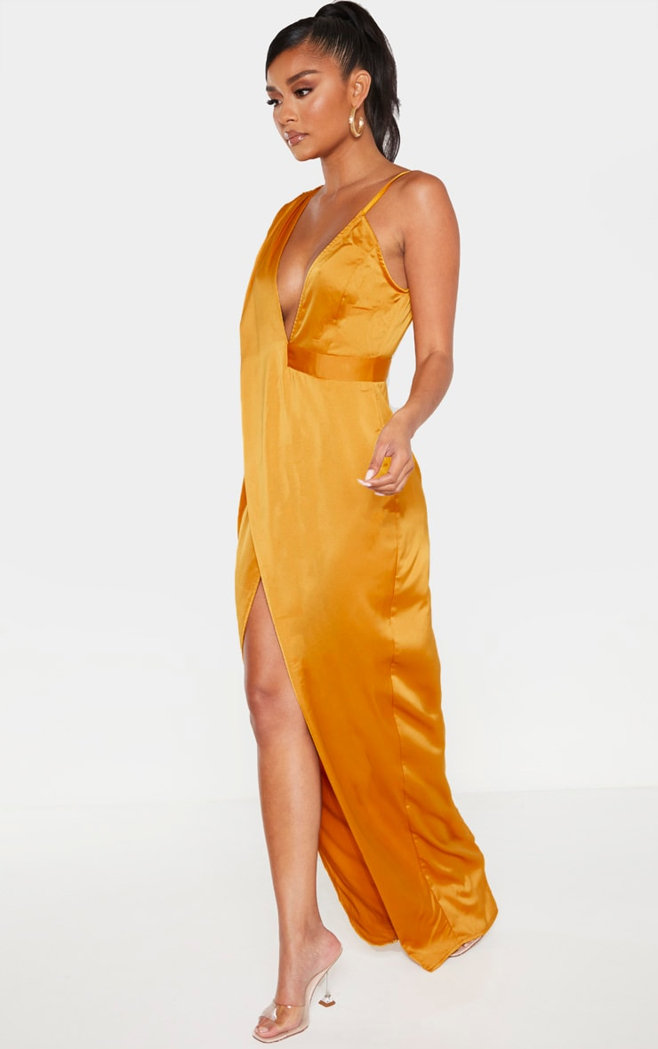 Mustard Asymmetric Drape Detail Maxi Dress 4