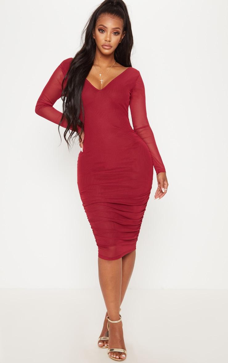 Shape Burgundy Mesh Plunge Back Ruched Bodycon Dress 2