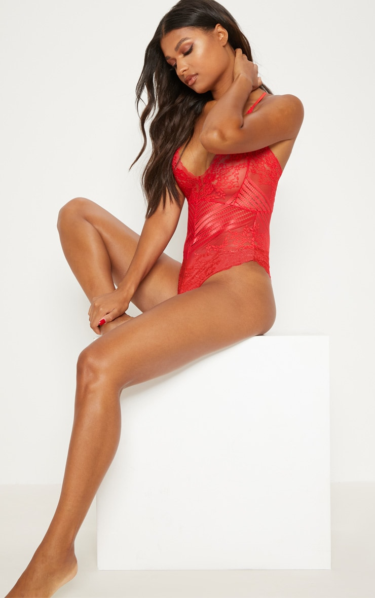 Red Mixed Delicate Lace Body 5