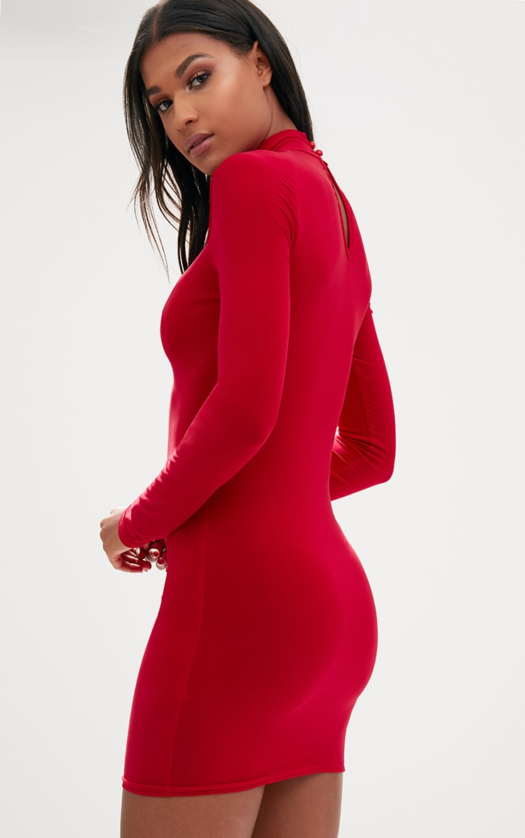 Red Open Arm Detail Long Sleeve Bodycon Dress 2