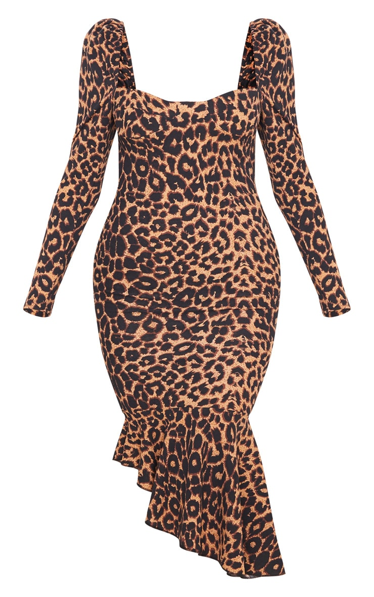 Tan Leopard Print Square Neck Frill Hem Midi Dress 3