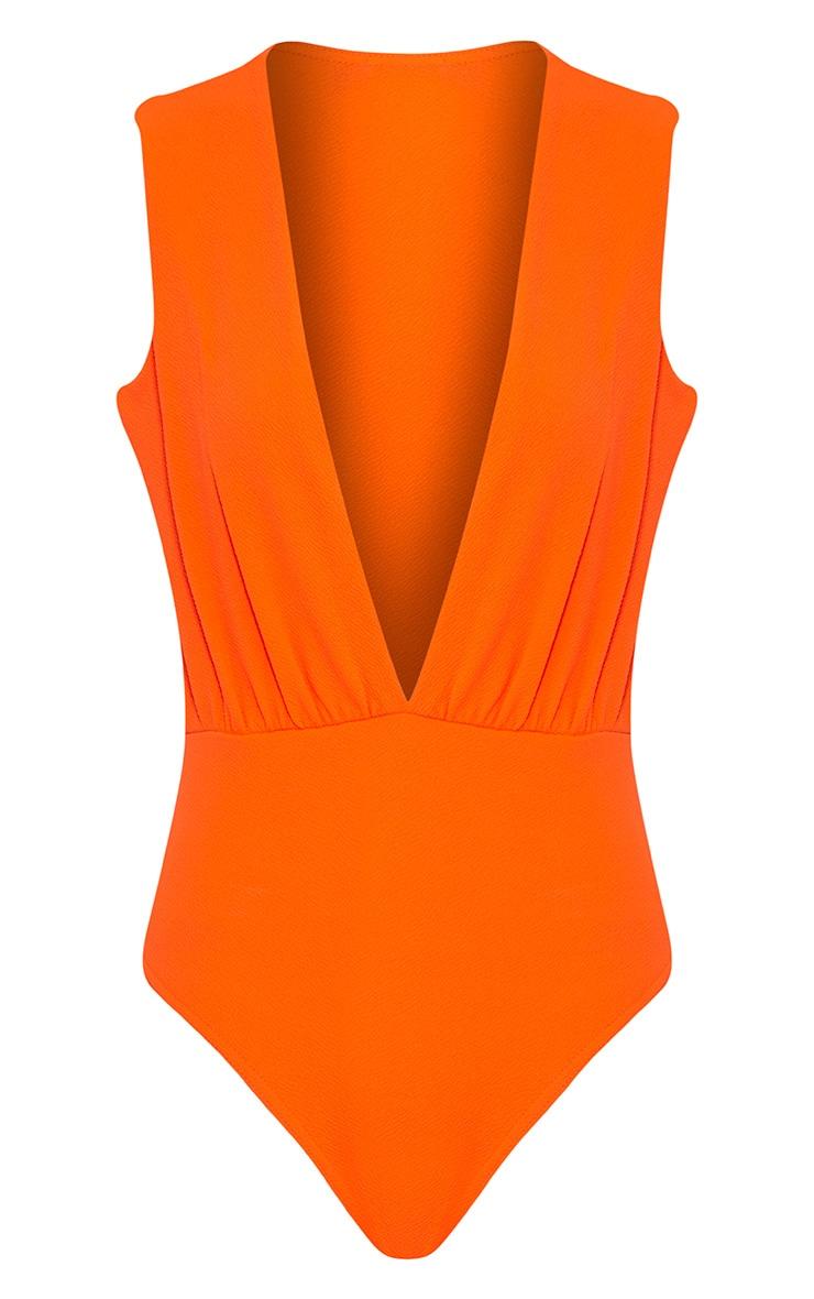 Drea Orange Fluro Deep Plunge Thong Bodysuit 3