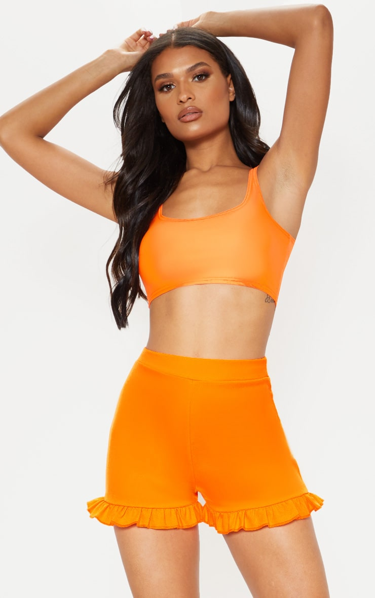 Neon Orange Frill Shorts  1