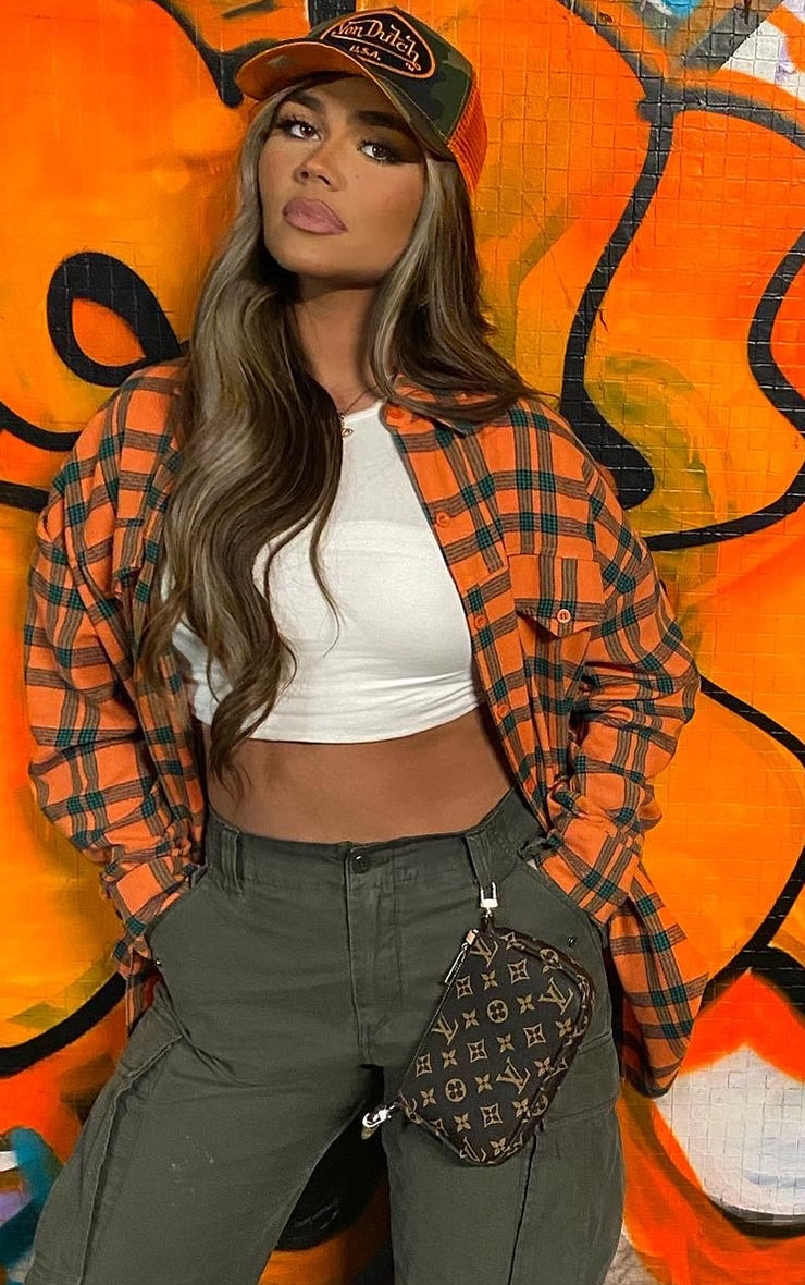 Orange Tartan Checked Flannel Pocket Detail Oversized Shirt
