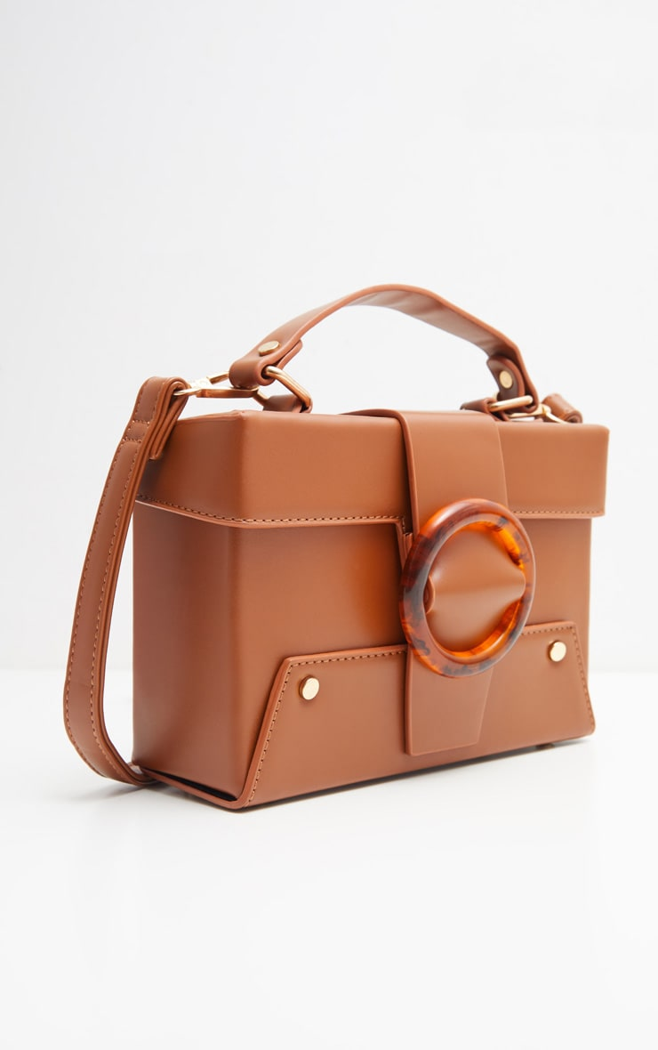 Tan Square Structured Tortoiseshell Trim Mini Satchel  2