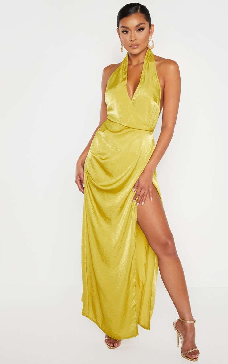 Light Lime Hammered Satin Halterneck Maxi Dress 4