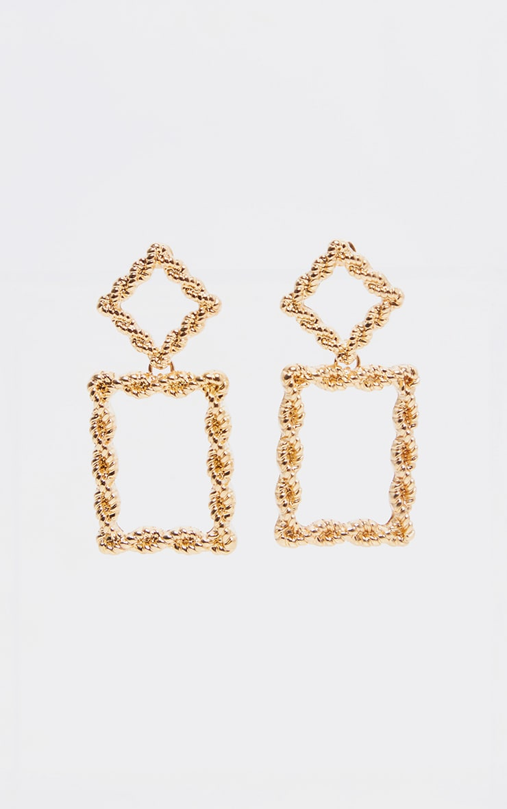 Gold Twist Mini Square Door Knocker Earrings 2