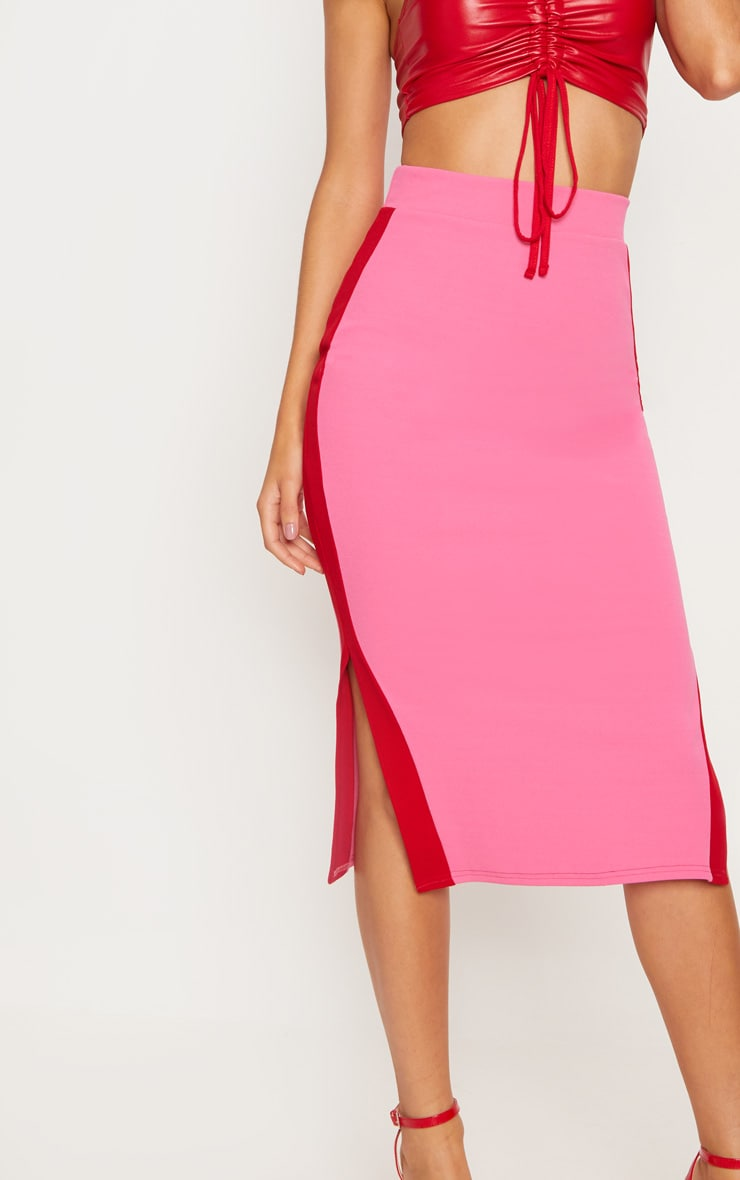 Hot Pink Contrast Side Stripe Split Hem Midi Skirt 5