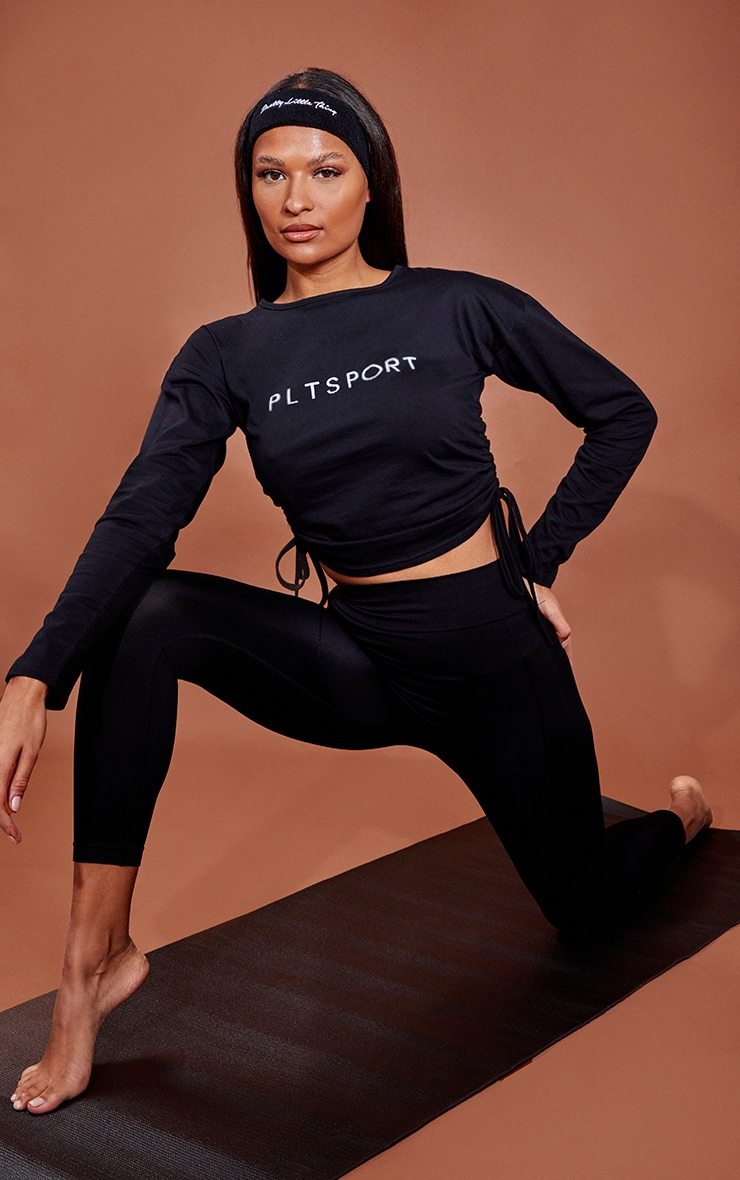 Black Draw Cord Long Sleeve Cropped Gym Top 3