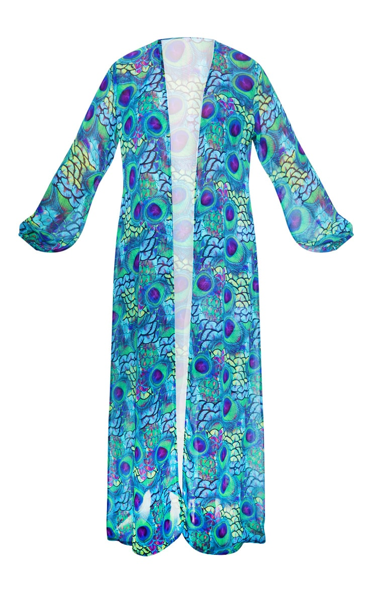 Plus Multi Peacock Print Chiffon Balloon Sleeve Kimono 3