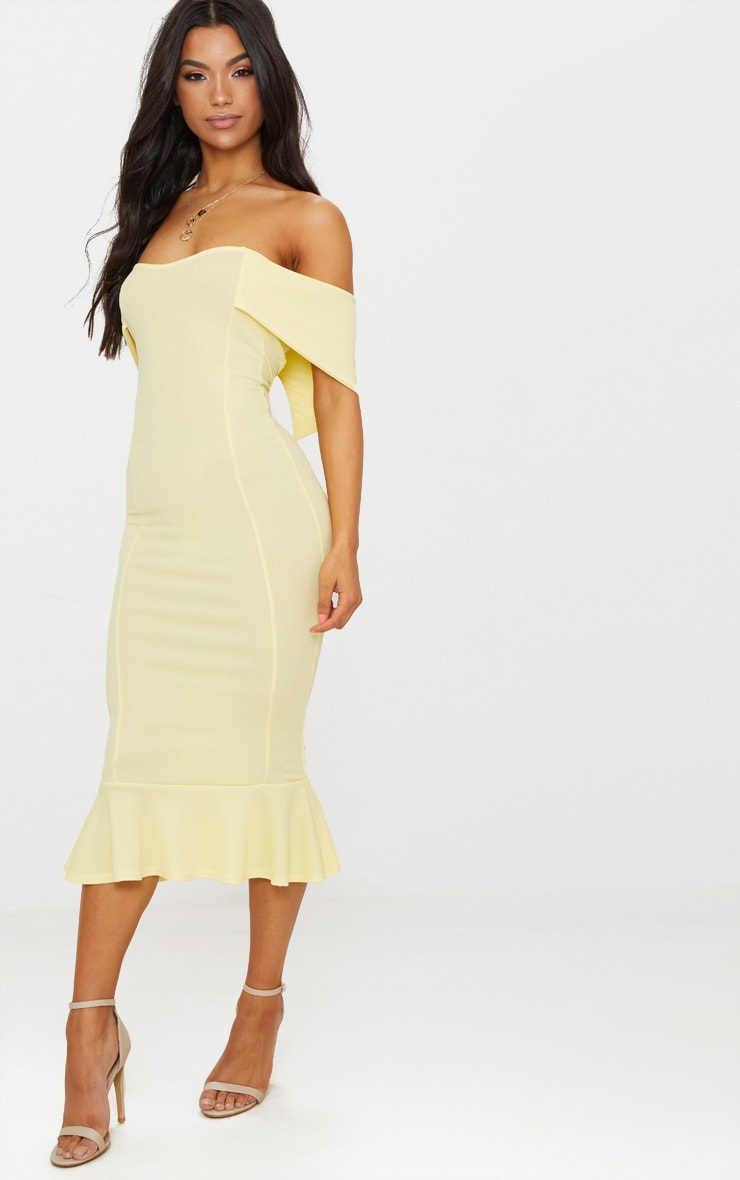 Lemon Bardot Frill Hem Midi Dress 4