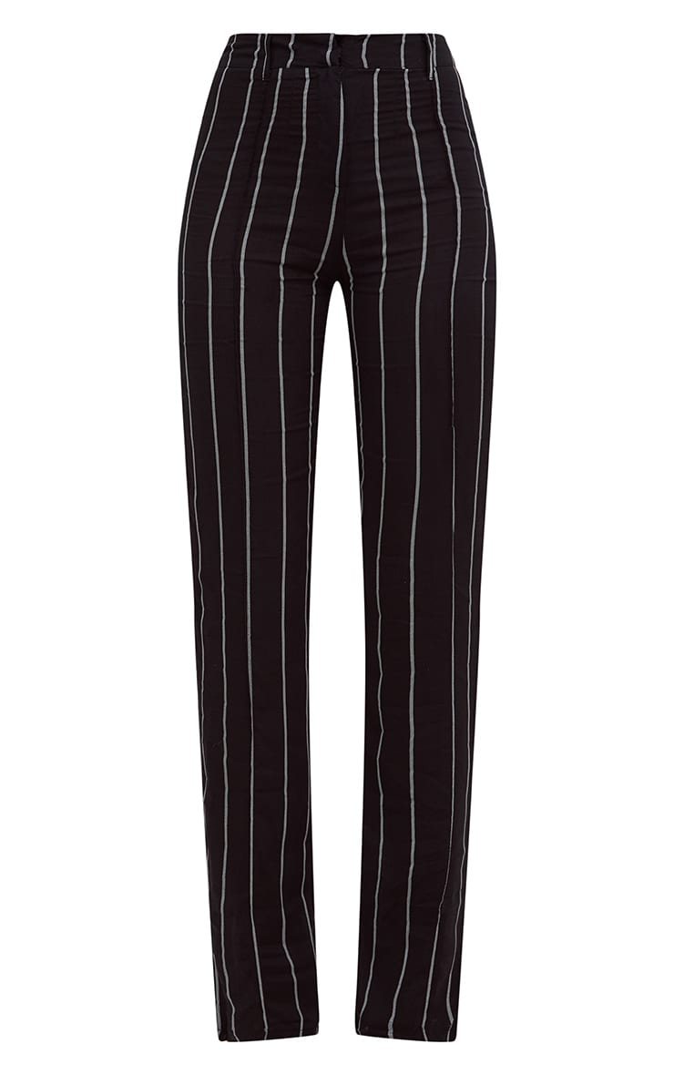 Black Pinstripe High Waisted Straight Leg Trousers 3