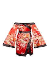 3cd14ffadf Plus Red Bardot Oriental Flare Sleeve Bodycon Dress image 3